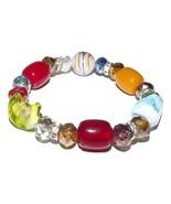 NEW MURANO GLASS WOMEN'S BEADED BRACELET MULTI ... - $34.60