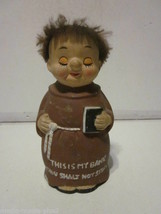 VINTAGE HAND PAINTED MONK FRIAR TUCK THIS IS MY BANK THOU SHALT NOT STEA... - $9.99