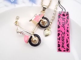 Betsey Johnson Crystal Cute Pink Scooter Neckla... - $14.99