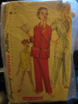 Vintage 1950's Simplicity #1325 Teen Size Pajamas in 2 Lengths Pattern -... - $8.02