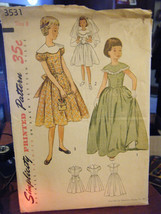 Vintage 1950's Simplicity 3531 Girl's Dress Pattern - Size 8 Chest 26 - $13.37