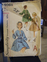 Vintage 1960's Simplicity 4061 Girl's Dress Pattern - Size 8 Chest 26 - $7.13