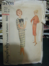 Vintage 1960's Simplicity  2708 Teen Size Dress Pattern - Size 10 - $9.25
