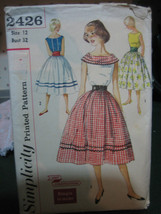 Vintage Simplicity 2426 Skirt, Blouse & Cummerbund Pattern - Size 12 Bus... - $13.45