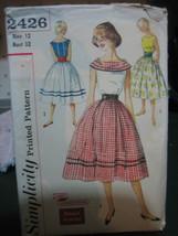 Vintage Simplicity 2426 Skirt, Blouse & Cummerbund Pattern - Size 12 Bust 32 - $13.45