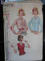 Vintage 1960's Simplicity #5072 Misses Shirt & Vest Pattern - Size 14/Bu... - $6.24
