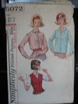 Vintage 1960's Simplicity #5072 Misses Shirt & Vest Pattern - Size 14/Bust 34 - $6.24