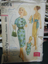 Vintage Simplicity 3014 Misses Dress, Jacket & Sash Pattern - Size 12 Bu... - $10.93