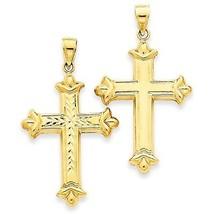 14K Yellow Gold Reversible Diamond-cut Cross Charm Pendant - $122.39