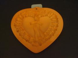 Vintage Cotton Press Heart Shaped Wreath Terra Cotta Pottery Mold - $17.81