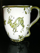 Vintage Hand Painted Nature Scene Glazed Ceramic Pottery Pitcher - Italy? - $21.92
