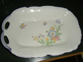 Vintage Japan Marked Spring Flowers & Butterflies Relish Dish - $12.86