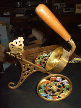 Vintage Israeli Brass Wine Bottle Pourer Holder Stand w/Wood Handle - $57.71