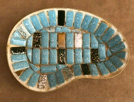 Vintage Mid Century Mosaic Tile kidney Dish Multi Color turquoise Gold p... - $24.50