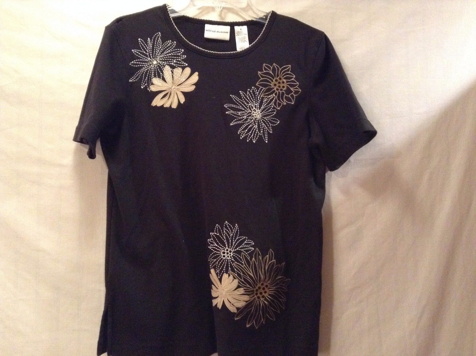 Used Great Condition Alfred Dunner Small Cotton Black Brown White Floral Shirt
