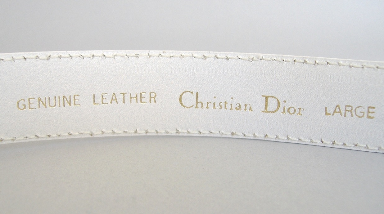 White Christian Dior Belt Genuine Leather Ladies Large