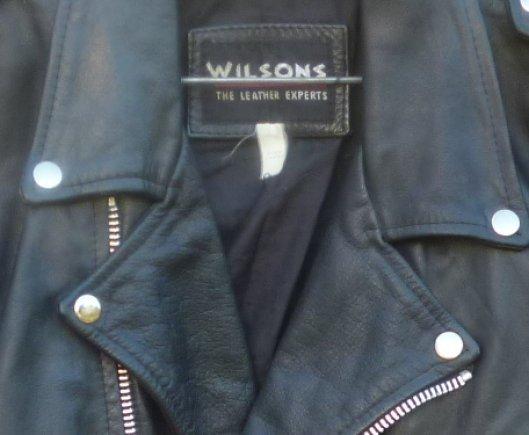 WILSONS black leather MOTORCYCLE Biker 4 pocket Jacket