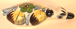 Tonala Mexican Hand Painted Glazed Pottery Duck Bright Floral  - $8.00