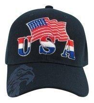 Big Bear USA and US Flag with Eagle on Visor Baseball Hat (Blue) - €10,17 EUR