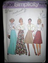 Vintage Simplicity #7308 Misses Skirt in 2 Lengths Pattern - Size 12 - $5.35