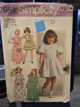 Vintage Simplicity 7954 Girl's Formal Dress in 2 Lengths Pattern - Sizes... - $8.90