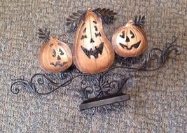 Halloween Fall Bronze Metal Tea Light Candle Holder 3 pumpkins pumpkin l... - $27.08