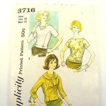 Simplicity 3716 Misses Blouse w/Detachable Collar Pattern - Size 12 Bust 32 - $10.93
