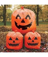 Halloween Lawn Bags Pack Of 3 Orange Jack O Lantern Faces Smiling Outdoo... - $9.82