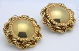 Heavy Gold Tone Over Sized Retro Clip Earrings Vintage - $13.86