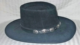 "Vintage Henschel Leather ""Dude"" Hat w/ Nickel Conches 7 1/4 to 7 3/8 Black - Fre - $69.99"