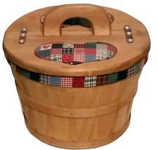 Lined Wood Bushel Basket with Pine Lid Vintage 1970's with Free Shipping - $59.99