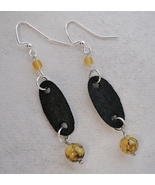 Black Wood Buff Brown Gold Beaded Earrings Hand... - $36.00