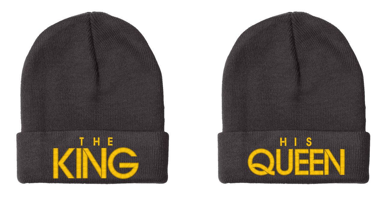 The KING His QUEEN Embroidered, 2 of Beanies, 12 inch