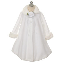 White Fleece Faux Fur Collar Cuff Coat Flower Girl Birthday Pageant Dance Formal - $33.00