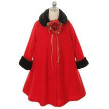 Red Fleece Faux Fur Collar Cuff Coat Flower Girl Birthday Pageant Dance Formal - $33.00