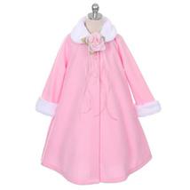 Pink Fleece Faux Fur Collar Cuff Coat Flower Girl Birthday Pageant Dance Formal - $33.00