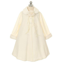 Ivory Fleece Faux Fur Collar Cuff Coat Flower Girl Birthday Pageant Dance Formal - $33.00