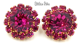 Vintage Austrian Crystal Earrings  Hot Pink Bridal Bling Loads of Fire ... - $79.00