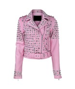 Leather skin women pink spike studded studs brando genuine leather jacket front thumbtall