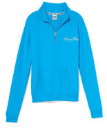 PINK Boyfriend Half-Zip Pullover Size Small, Bright Marine - $57.25