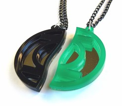 Green Lantern best friends necklaces Laser cut from black green plastic - $17.74