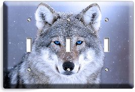 Wild Gray Wolf W Blue Eyes Snow Triple Light Switch Wall Plate Cover Home Decor - $19.99