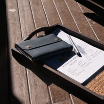 A6 Handmade Genuine Leather Refillable Journal Notebook. Blue. Gift. - $35.00