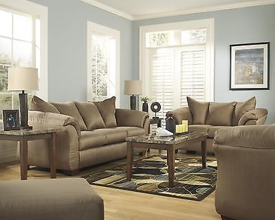 Ashley Darcy Living Room Set 3pcs in Mocha Upholstery Fabric Contemporary Style