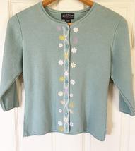 Woolrich Ladies Medium Sweater Lt. Green Embroidery Applique Flowers 3/4... - $282,37 MXN