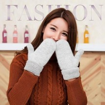 Lovely Female Winter Knit Wool Thicker Cashmere Velvet Warm Black Gloves... - $16.39 CAD