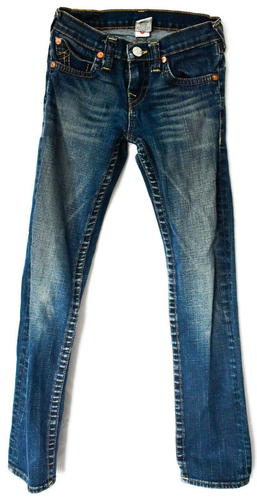 True Religion Girls Juniors Denim Straight Leg Blue Jeans Size 12 G102172QZ