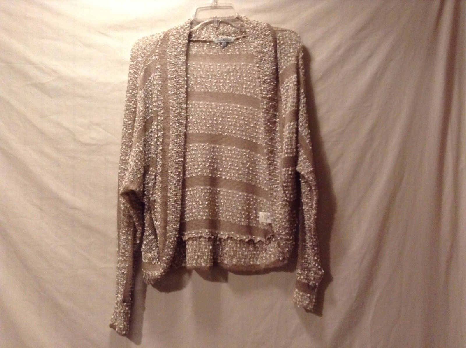 Used Great Condition Charlotte Russe XS White Brown Stripe Puff Ball Cardigan