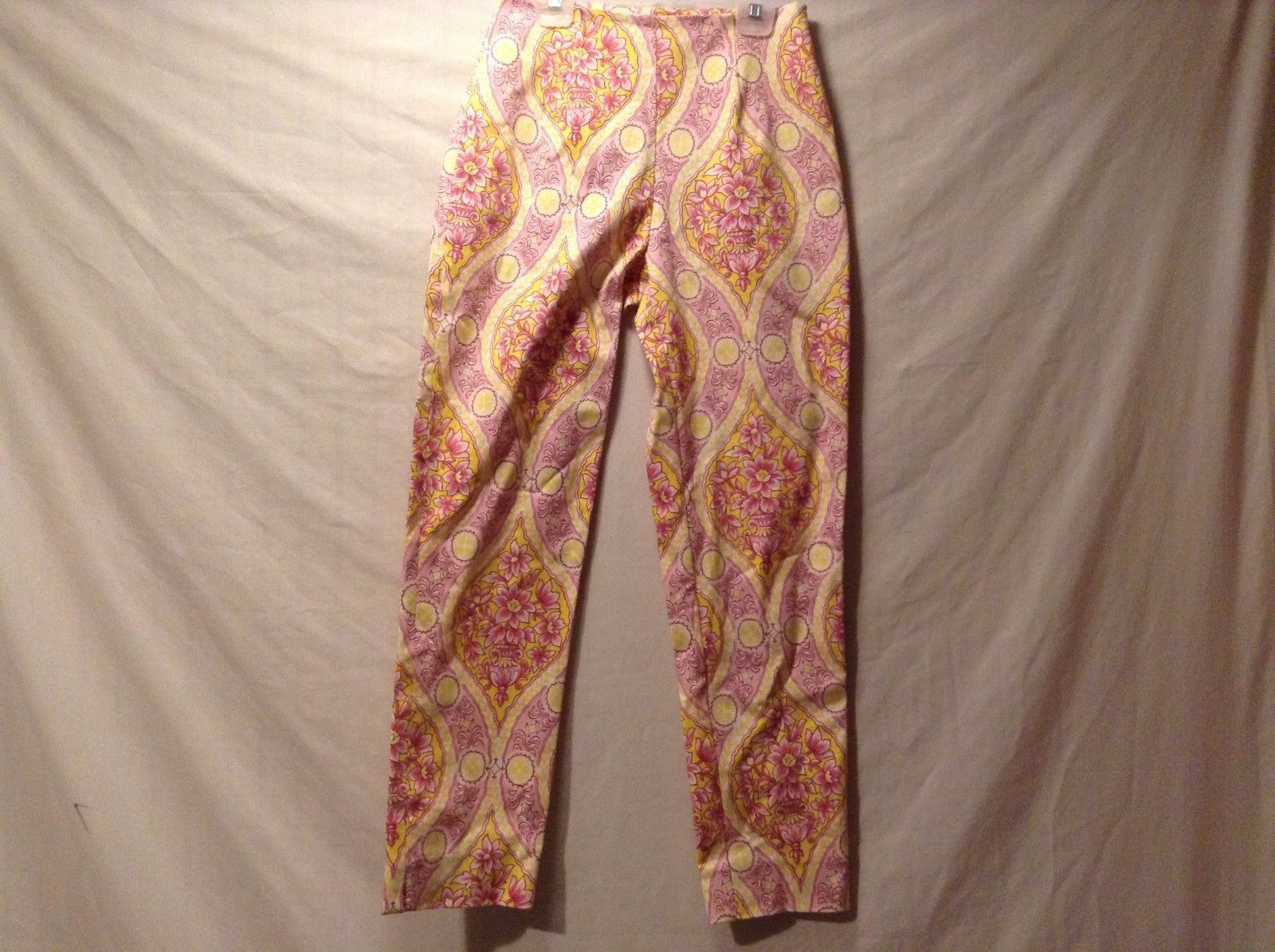 Used Great Condition Leggiadro Pink Yellow White Floral Pants Cotton Blend