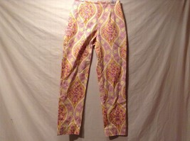 Used Great Condition Leggiadro Pink Yellow White Floral Pants Cotton Blend - $34.64